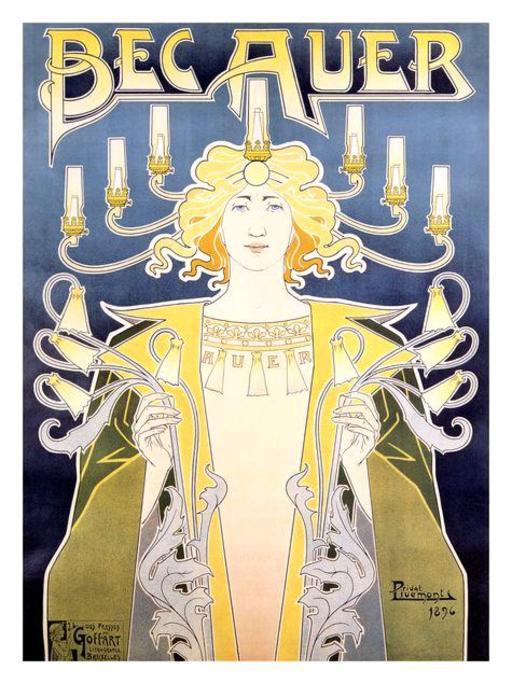 Affiche publicitaire de 1890 pour les bec de gaz