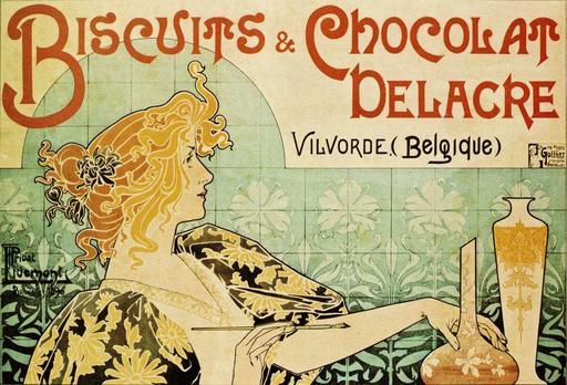 Affiche publicitaire pour Biscuits et Chocolat Delacre