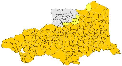 Aire d'extension du catalan dans les Pyrénées Orientales