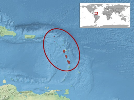 Aire de répartition de l'iguane des Petites Antilles