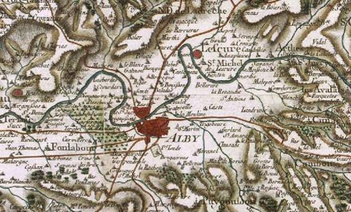 Alby sur la carte de Cassini en 1780