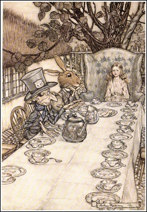Alice assise au thé de fous