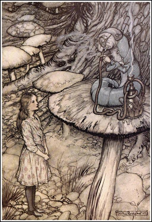 Alice et la chenille sur son champignon