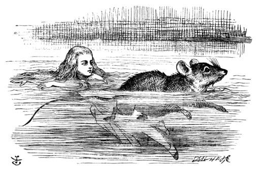 Alice et la souris nagent dans la mare