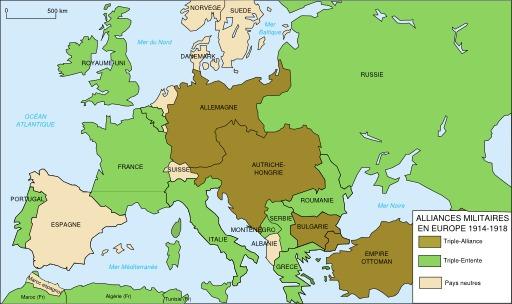 Alliances militaires en Europe en 1914-1918