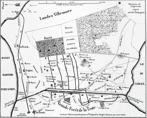 Aménagement de la plaine de Cazaux en 1850