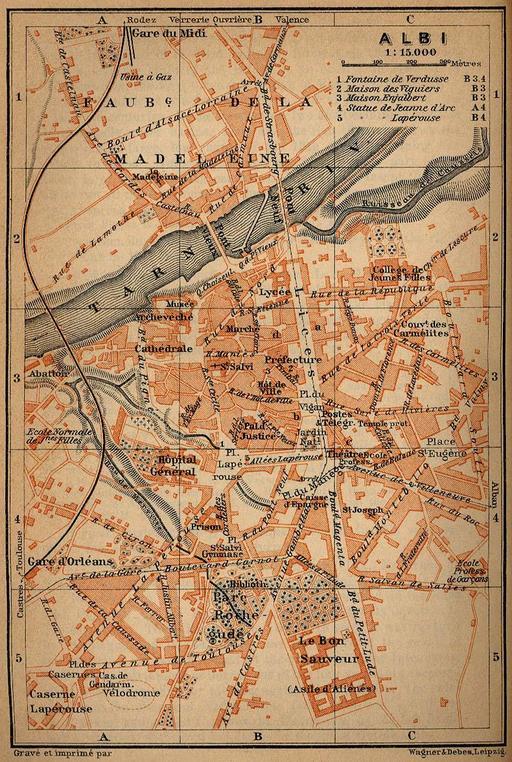 Ancien plan de la ville d'Albi en 1914