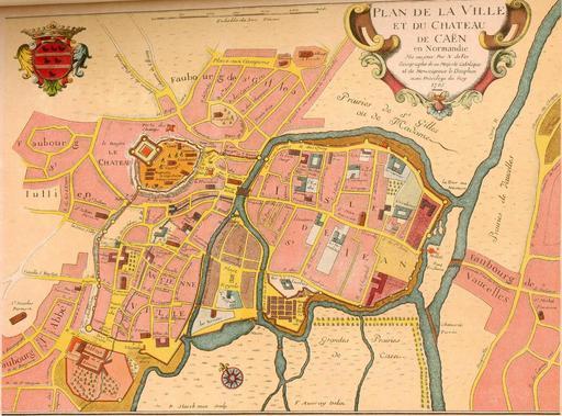 Ancien plan de la ville de Caen en 1705