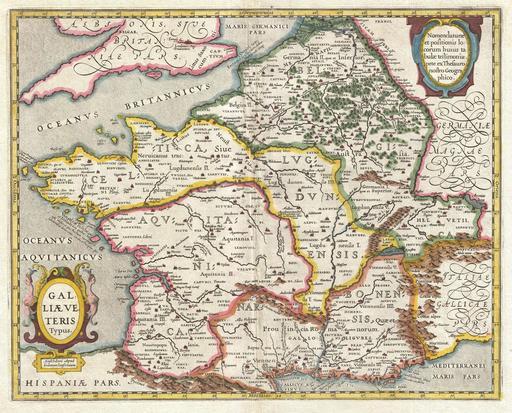 Ancienne carte de la Gaule antique