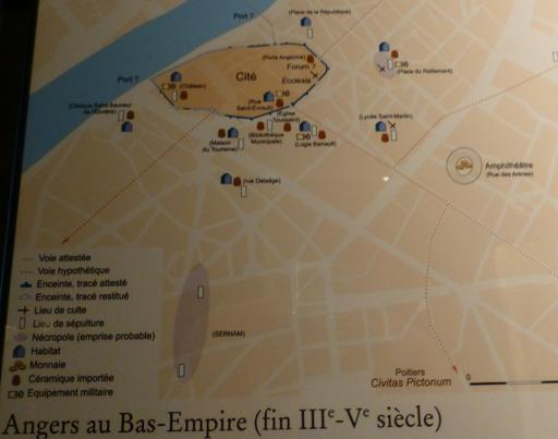 Angers, carte au Bas-Empire