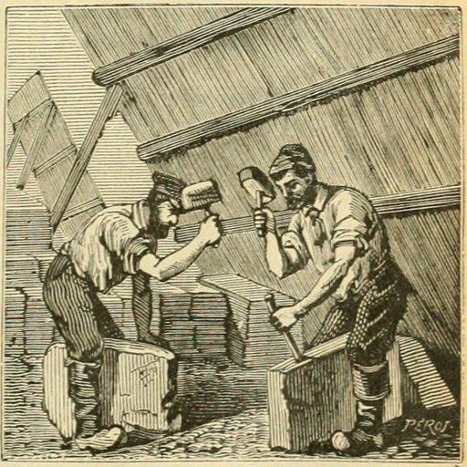 Ardoisiers dans une carrière au XIXème siècle