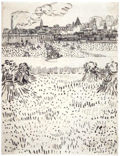 Arles et ses cheminées vue depuis les champs de blé