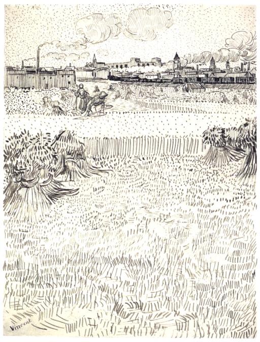 Arles vue depuis les champs de blé en été