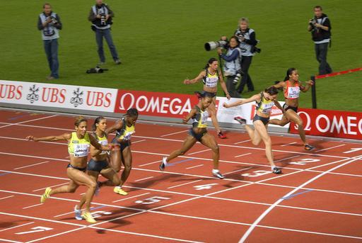 Arrivée d'un 100 mètres féminin à Zurich en 2007