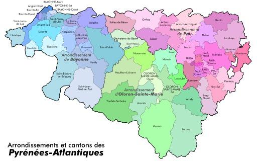 Arrondissements et cantons des Pyrénées Atlantiques