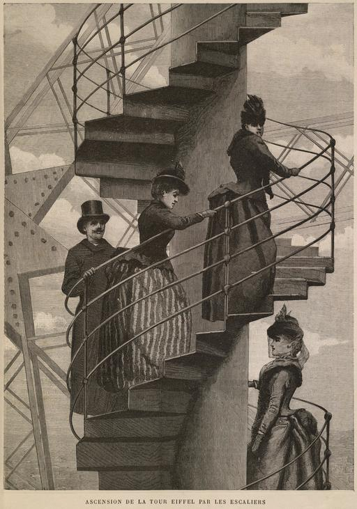 Ascension de la tour Eiffel par les escaliers en 1889