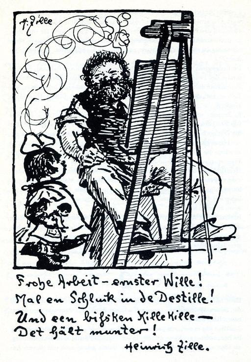 Autoportait de Heinrich Zille au travail