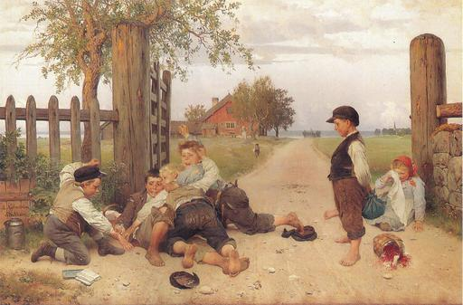 Bagarre d'enfants à la campagne en 1885