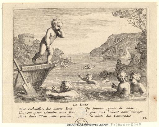 Baignade d'enfants en 1657