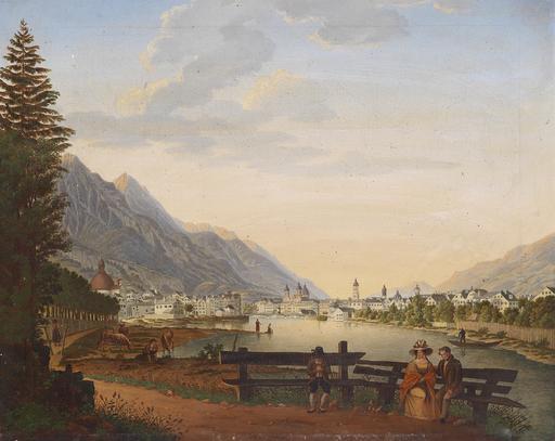 Bancs au bord de l'Inn à Innsbruck