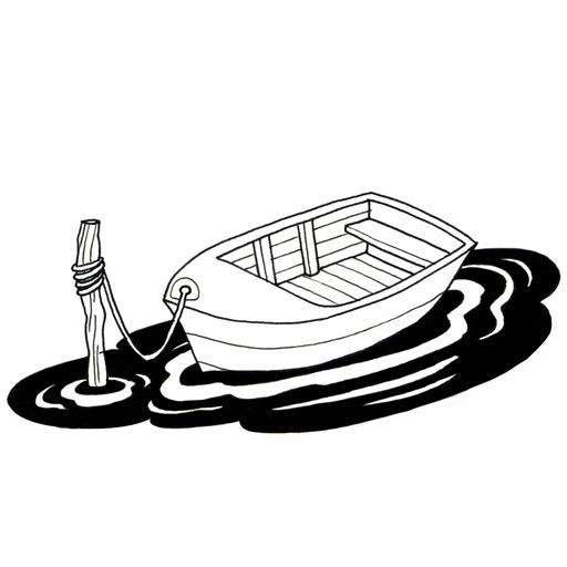 Barque amarrée à un poteau