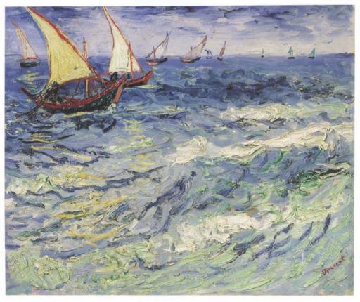 Barques en mer aux Saintes-Maries-de-la-Mer en 1888