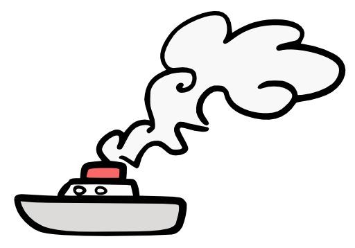 Bateau à cheminée fumante
