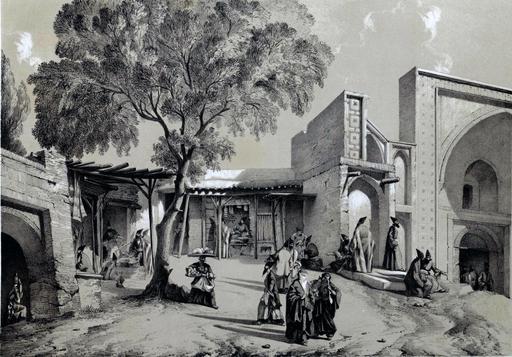 Bazar et entrée de mosquée à Casbin en Iran en 1840