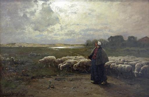 Bergère et troupeau de brebis