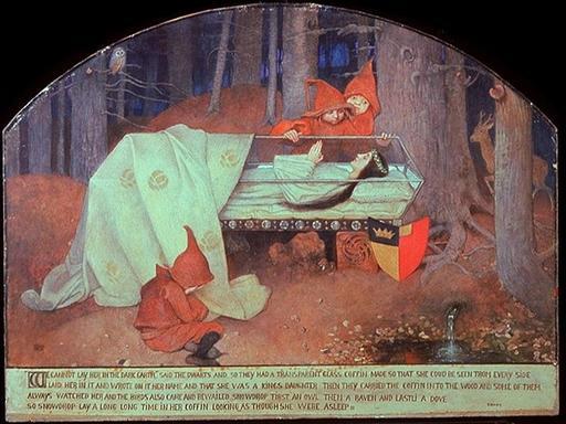 Blanche Neige dans son cercueil de verre