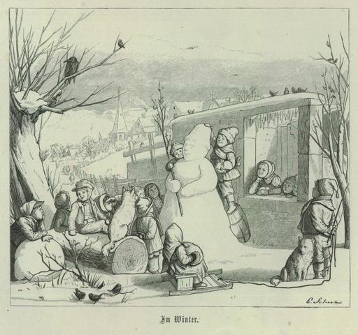 Bonhomme de neige entouré d'enfants