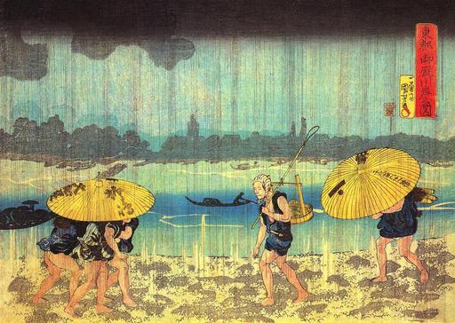 Bord de rivière sous la pluie