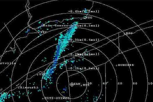 Bourrasque de neige sur radar