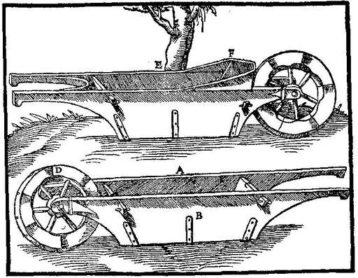 De Re Metallica de Georgius Agricola (Bâle, 1556) : Brouette avec la caisse suspendue aux brancards.