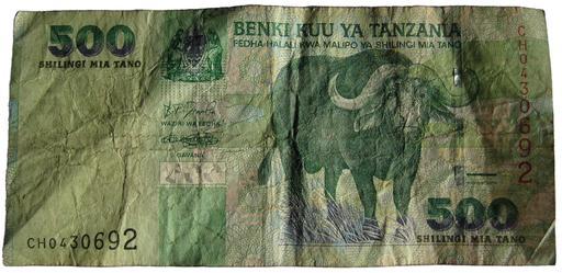 Buffle d'Afrique sur un billet de Tanzanie