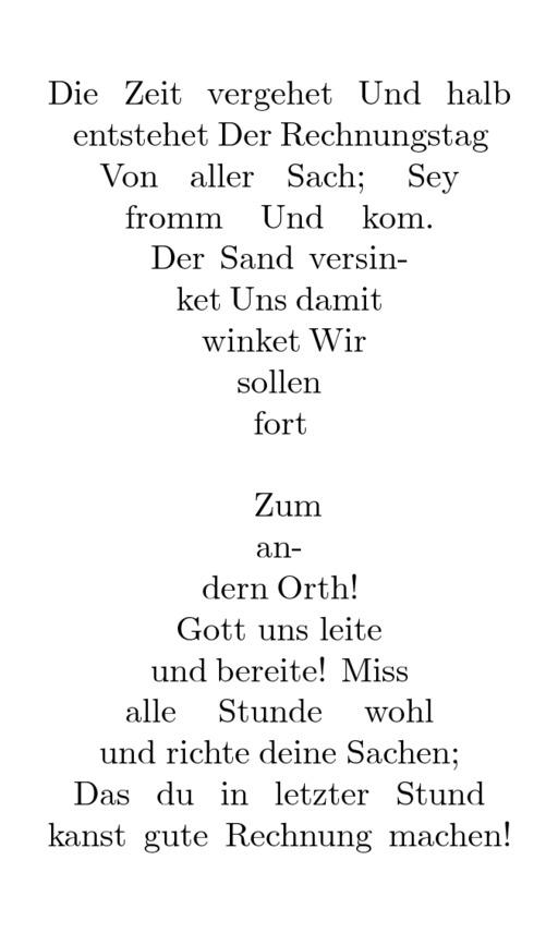 Calligramme du sablier de Theodor Kornfeld