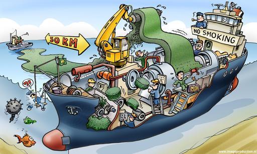 Caricature d'un navire collecteur de tapis d'algues