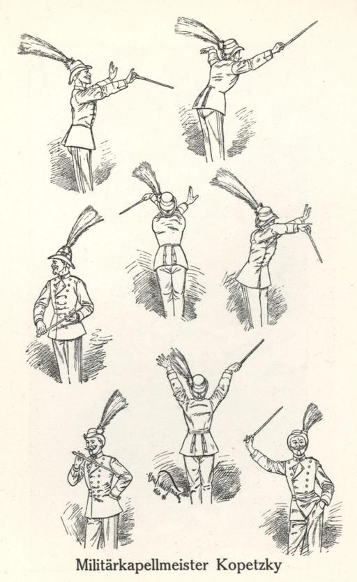 Caricature de chef de musique militaire il y a cent ans