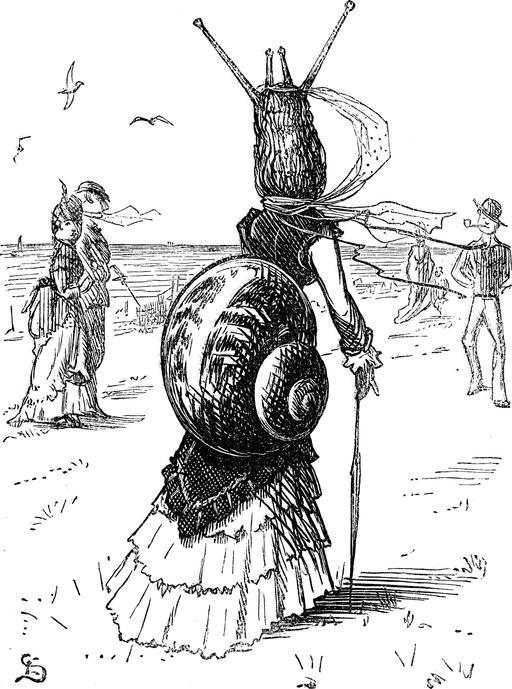Caricature de la tournure vestimentaire