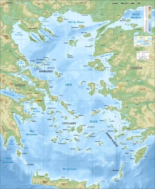 Carte bathymétrique de la mer Égée