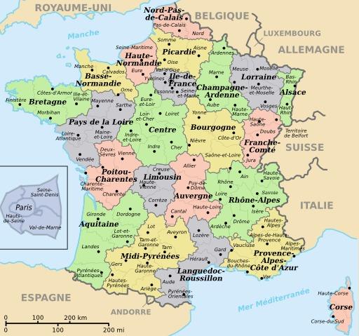 Carte colorisée des départements et régions de France