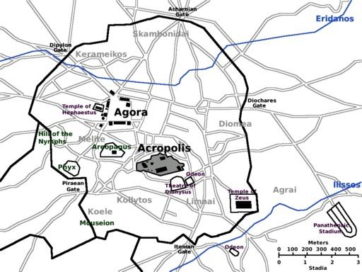 Carte d'Athène antique