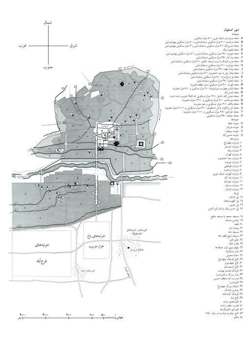 Carte d'Isfahan en 1840