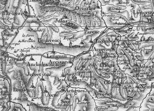 Carte de Cassini Lourdes Est