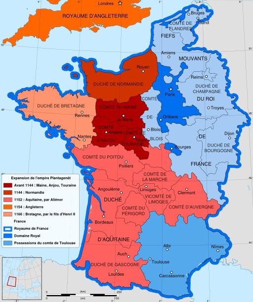 Carte de France de 1144 à 1166