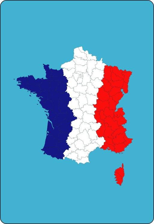 Carte de France métropolitaine tricolore