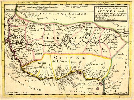 Carte de l'Afrique de l'Ouest en 1736