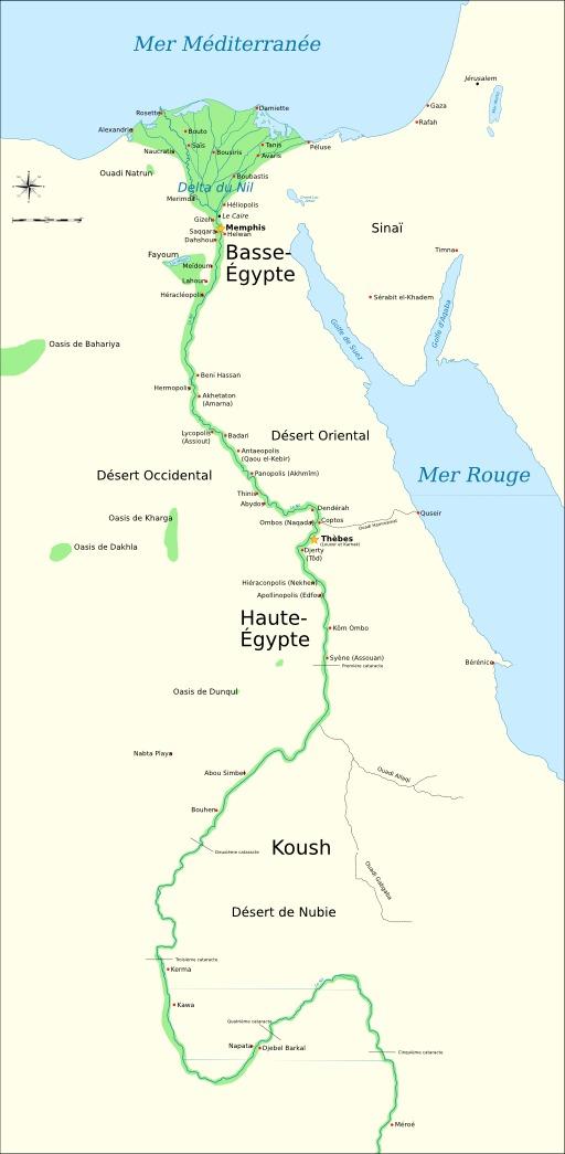 Carte de l'ancienne Egypte