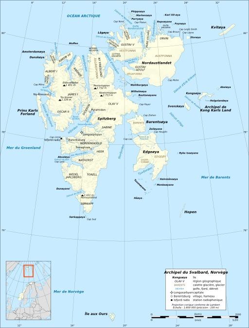 Carte de l'archipel du Svalbard en Norvège