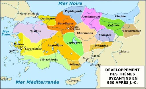 Carte de l'empire byzantin en 950
